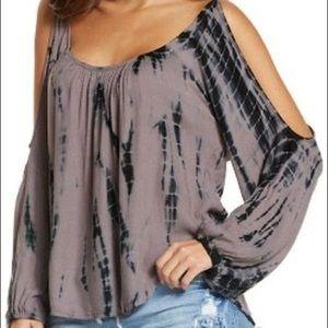 💙Elan small cold shoulder tie dye flowy blouse